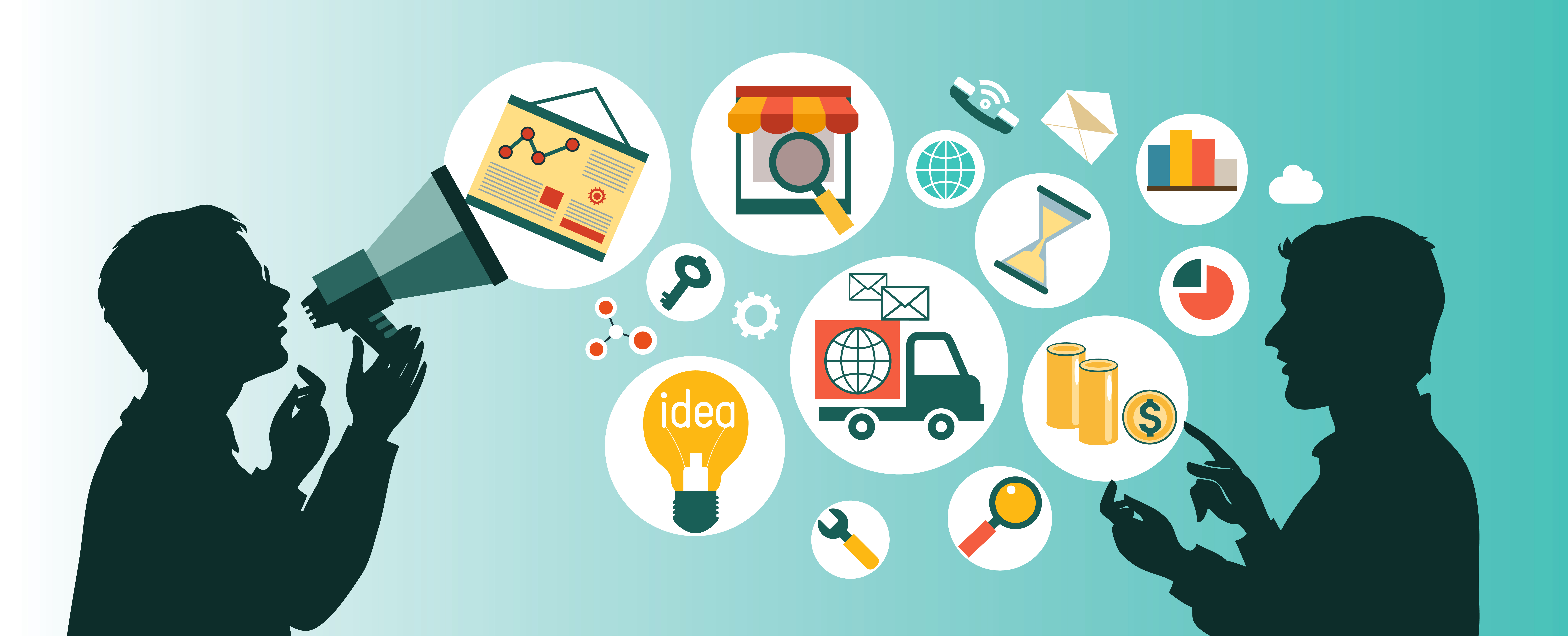 flat vector business communication and connection business concept
